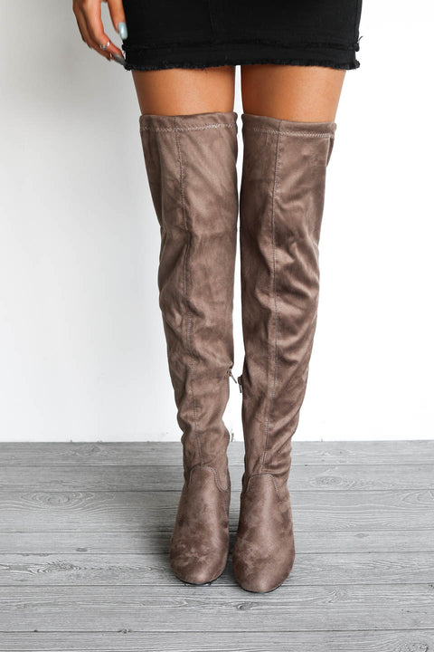 Take Me Out Taupe Suede Knee High Boots