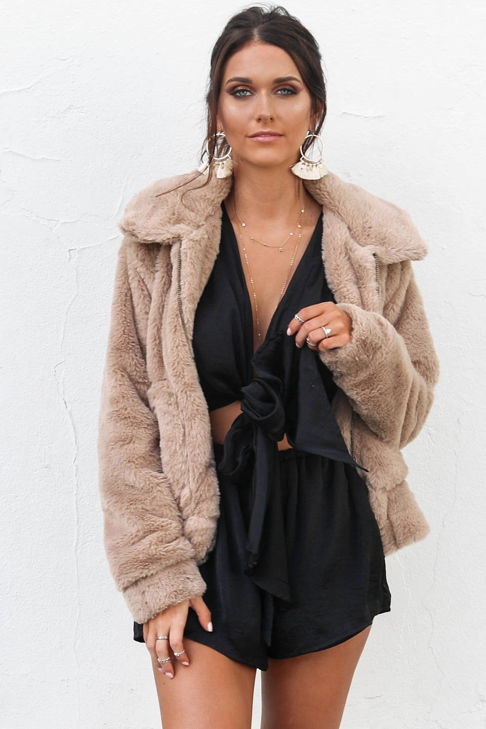 Much Sweeter Tan Faux Fur Zip Up Jacket