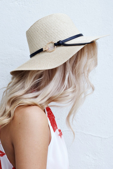 Ivory Straw Hat With Gold Circle