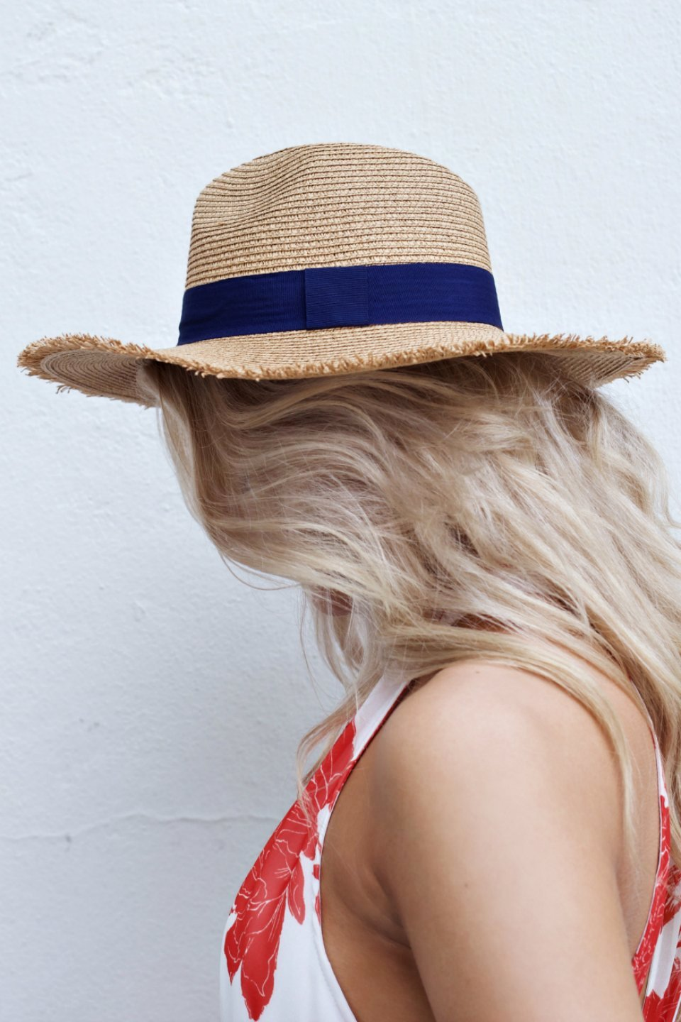 Tan Straw Hat With Navy Strap