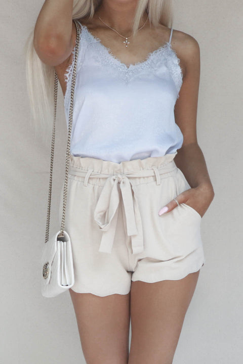 New View Beige Scallop High Waisted Belted Shorts