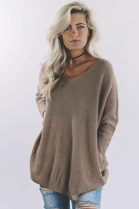 New Song Mocha Knit Sweater - Amazing Lace