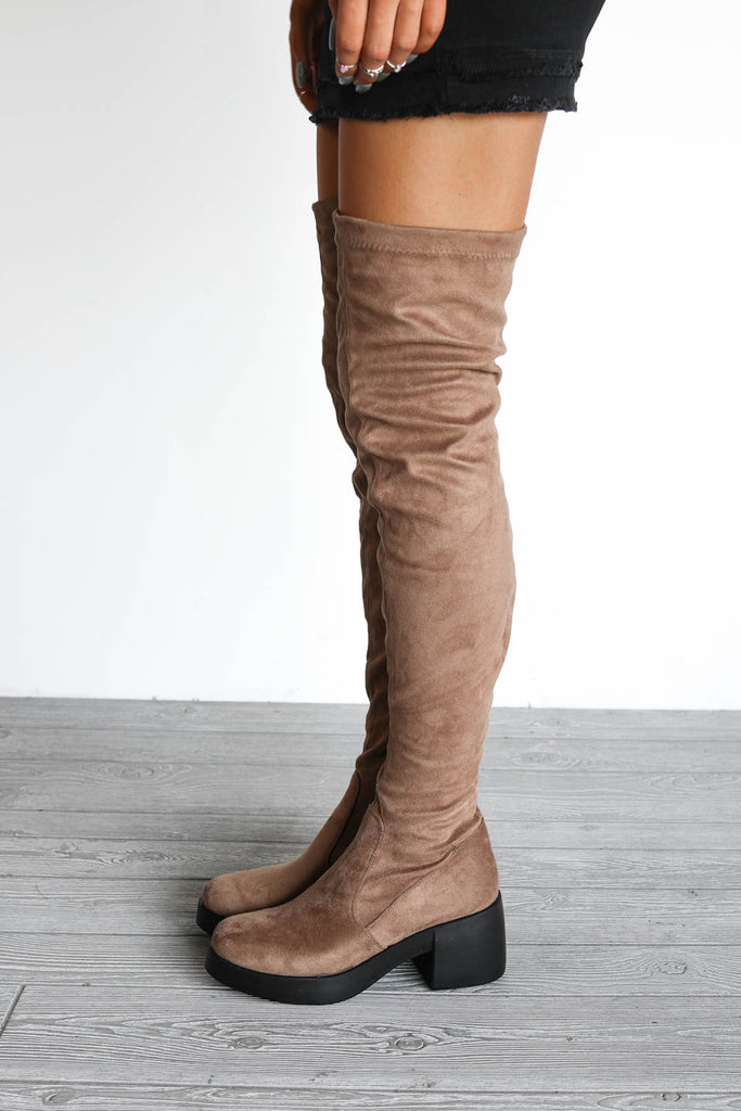 Don't Tell Taupe Chunky Platform Knee High Boots