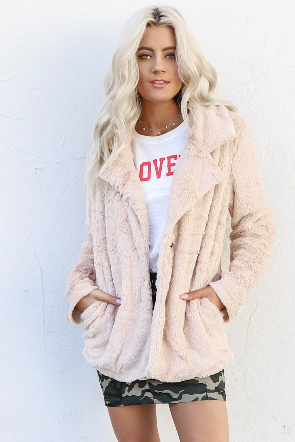 I'm Obsessed Taupe Faux Fur Coat