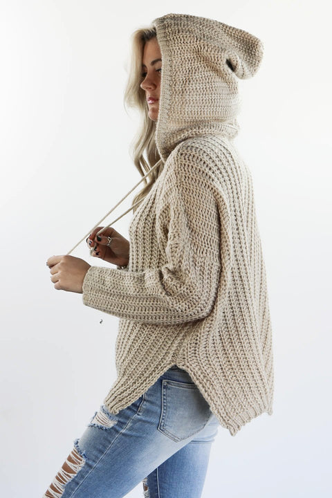 Always Will Taupe Knit Hoodie Pullover - Amazing Lace