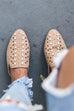 Walking In Cali Nude Studded Open Back Loafer - Amazing Lace