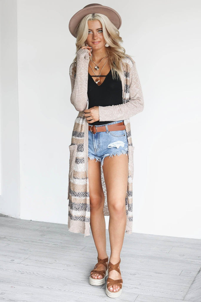 Make It Real Taupe Stripe Duster Cardigan with Belt Tie