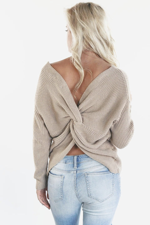 Break The Ice Taupe Twist Back Sweater - Amazing Lace