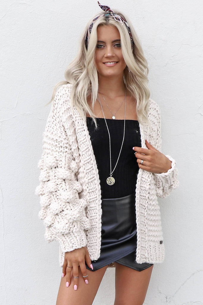 Baby Please Natural Chunky Pom Pom Cardigan