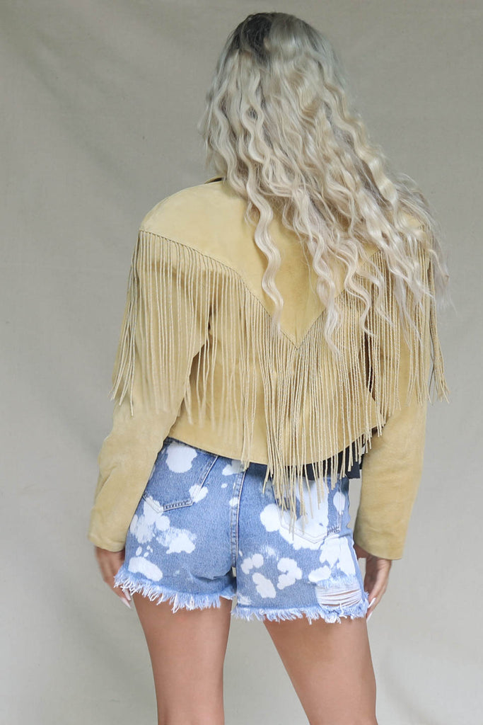 VINTAGE Yellow Fringe Suede Jacket