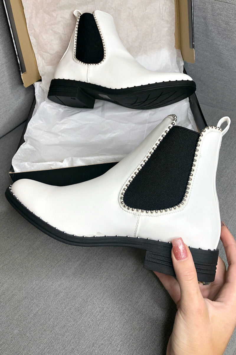 Runaway Bride White Studded Ankle Bootie