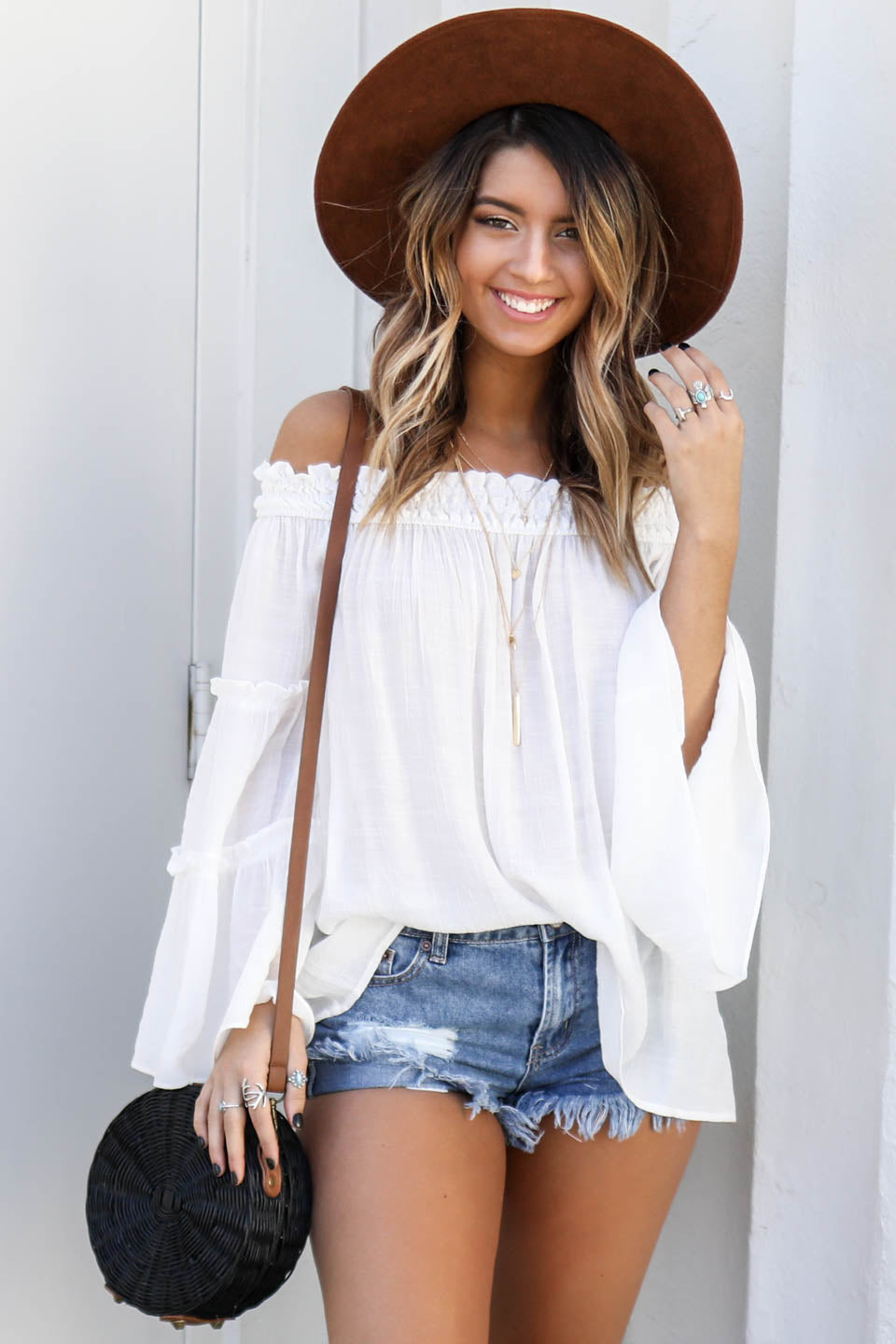 Risk It All White Off The Shoulder Top