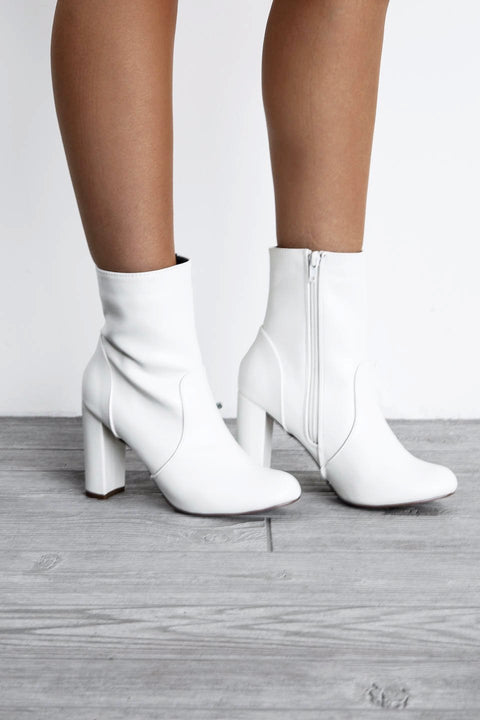 With You Again White Side Zipper Bootie - Amazing Lace