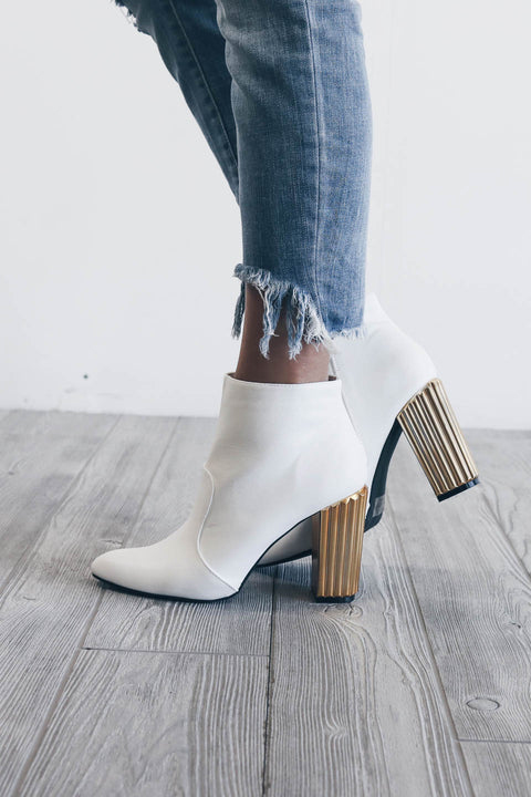 No Pressure White Bootie with Gold Heel - Amazing Lace