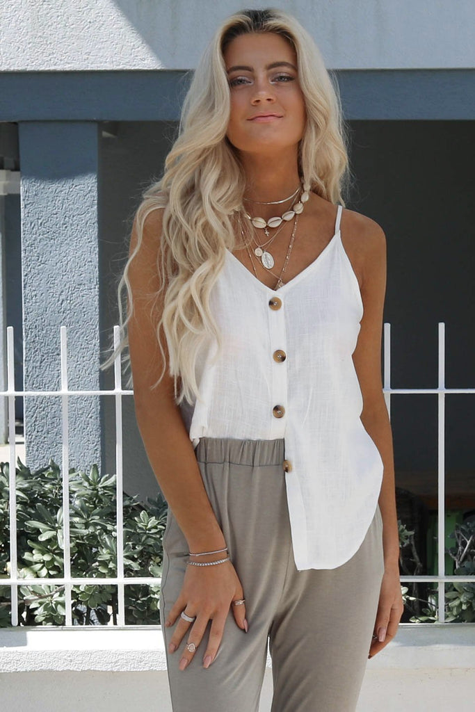 Come Back Off White Button Down Tank