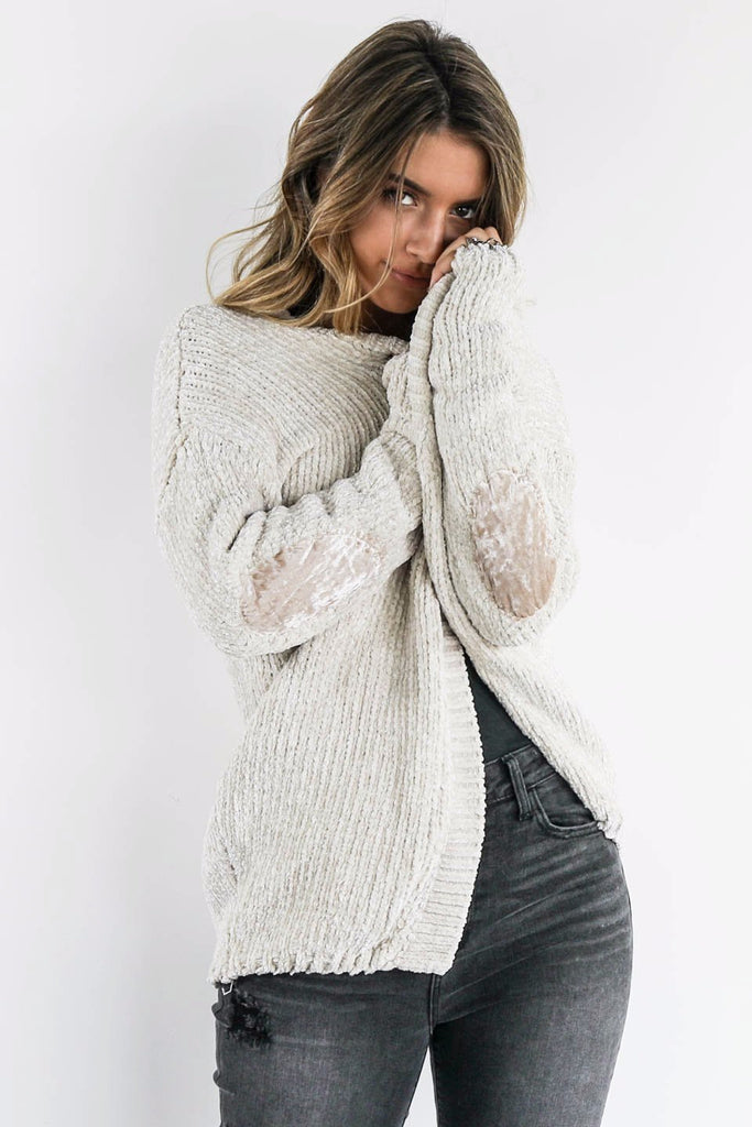 Getting Lost Almond Chenille Cardigan With Velvet Elbow Patch - Amazing Lace