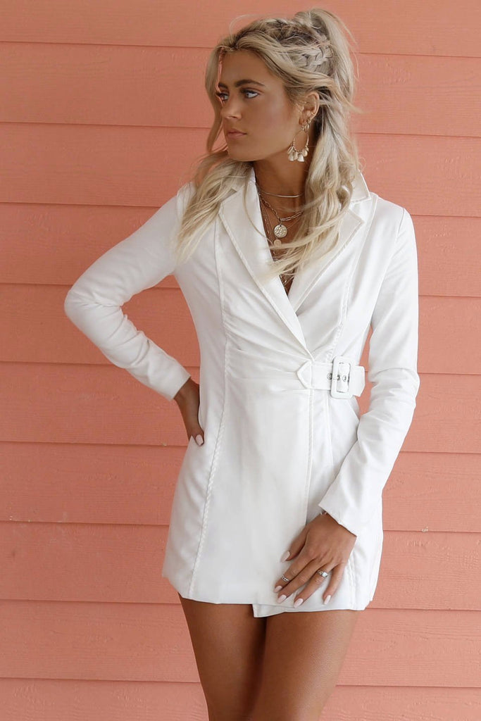 Afford It White Long Sleeve Blazer Dress