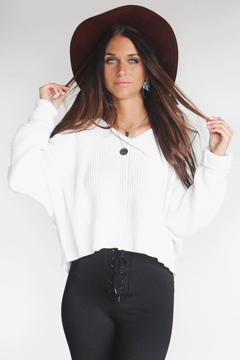 In No Time Cream Crop Chenille Sweater