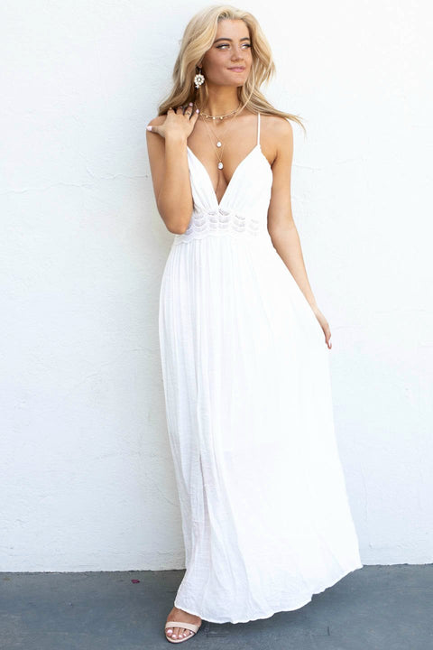 Get With It White Crochet Maxi Dress