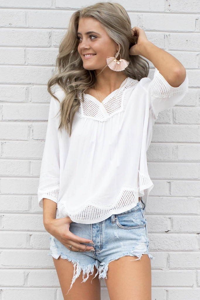 In The Hills White Crochet Top