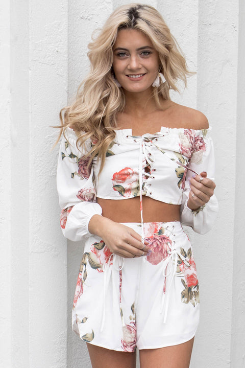 Take It In White Floral Short Set