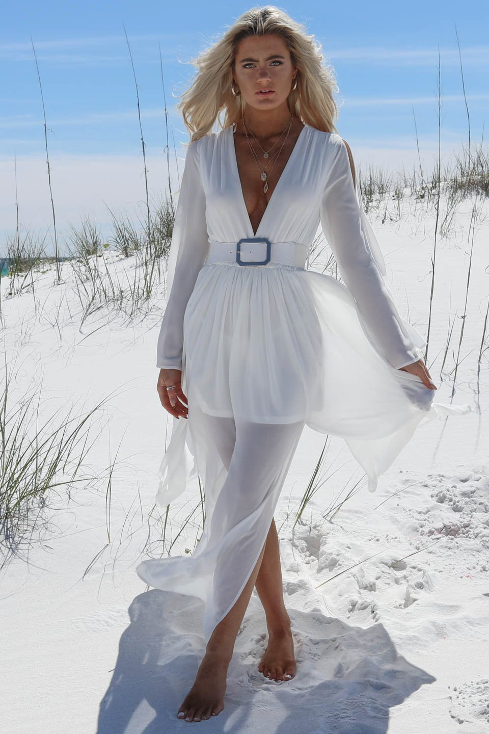 Running Circles White Chiffon Belted Maxi Dress
