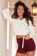 Smiling Forever Burgundy Side Slit Skort - Amazing Lace