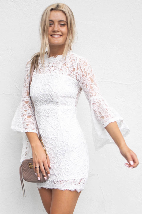 Dear One White Bell Sleeve Embroidery Dress