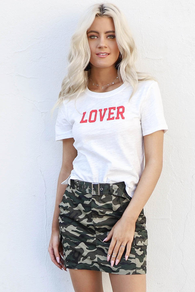 Lover White Graphic T-Shirt
