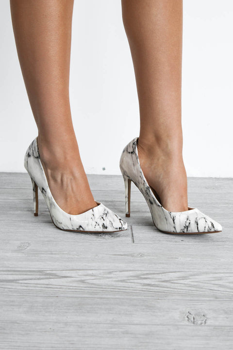 Just In Time White Marble Heels - Amazing Lace