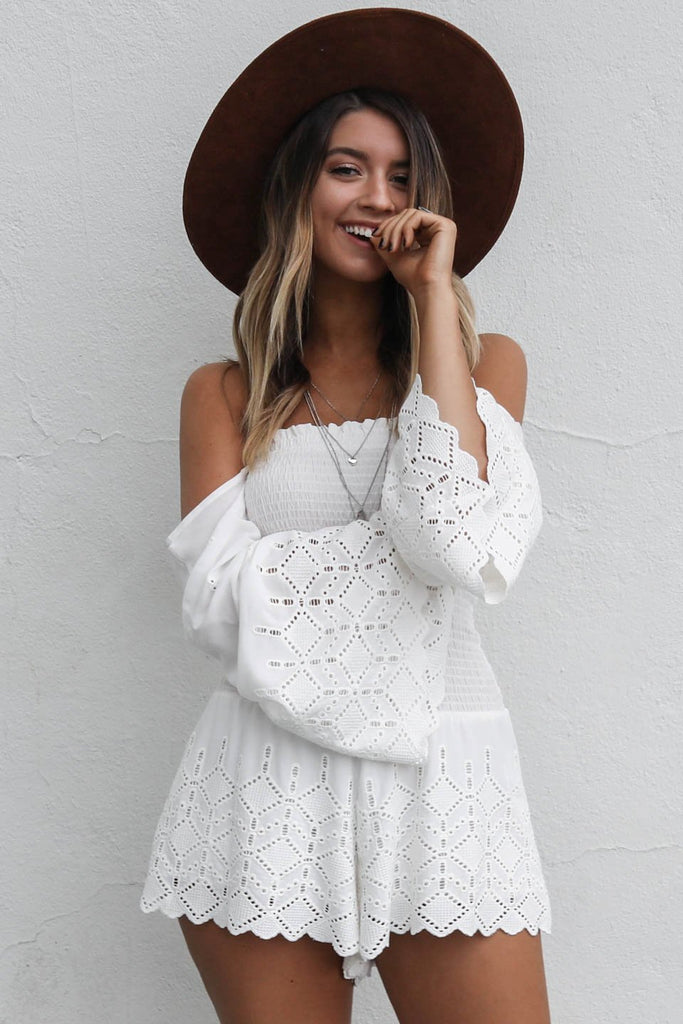 Been Hoping White Bell Sleeve Romper