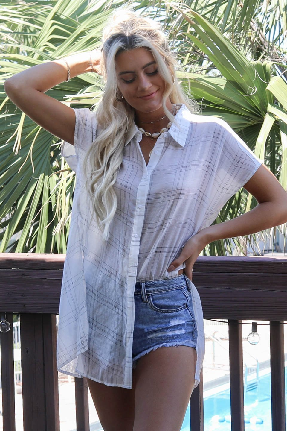 Commitment White Button Plaid Front Tie Top