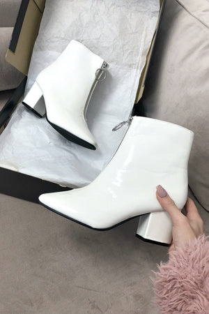 New Friends White Patent Zipper Ankle Bootie