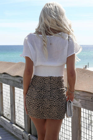 Honolulu White Button Smocked Crop Top