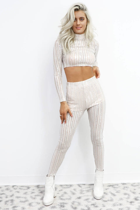 Three Cheers Ivory Sequin Two Piece Set