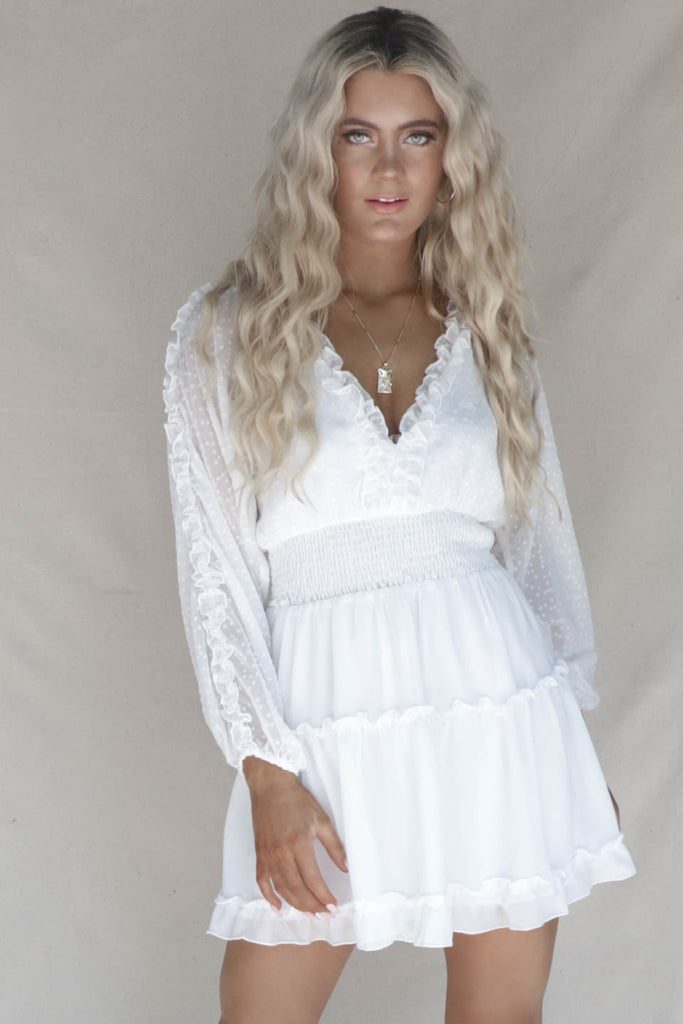 St. Augustine White Ruffle Dress