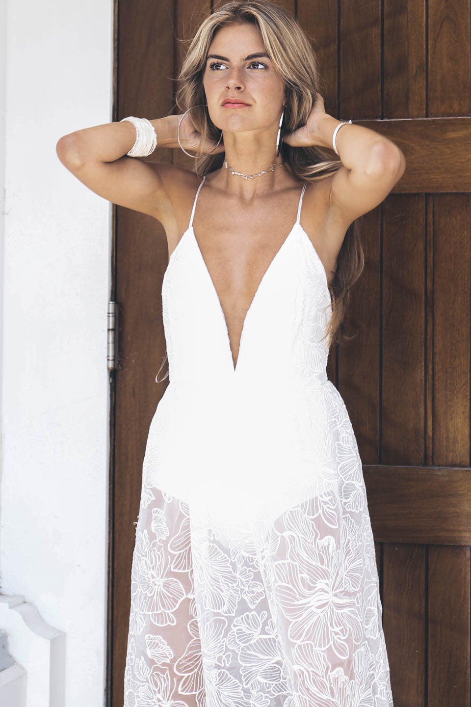To The Rhythm Ivory Sheer Lace Maxi Dress With Body Suit - Amazing ...