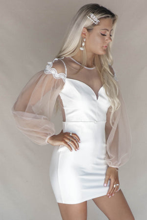 Sienne White Puff Sleeve Dress