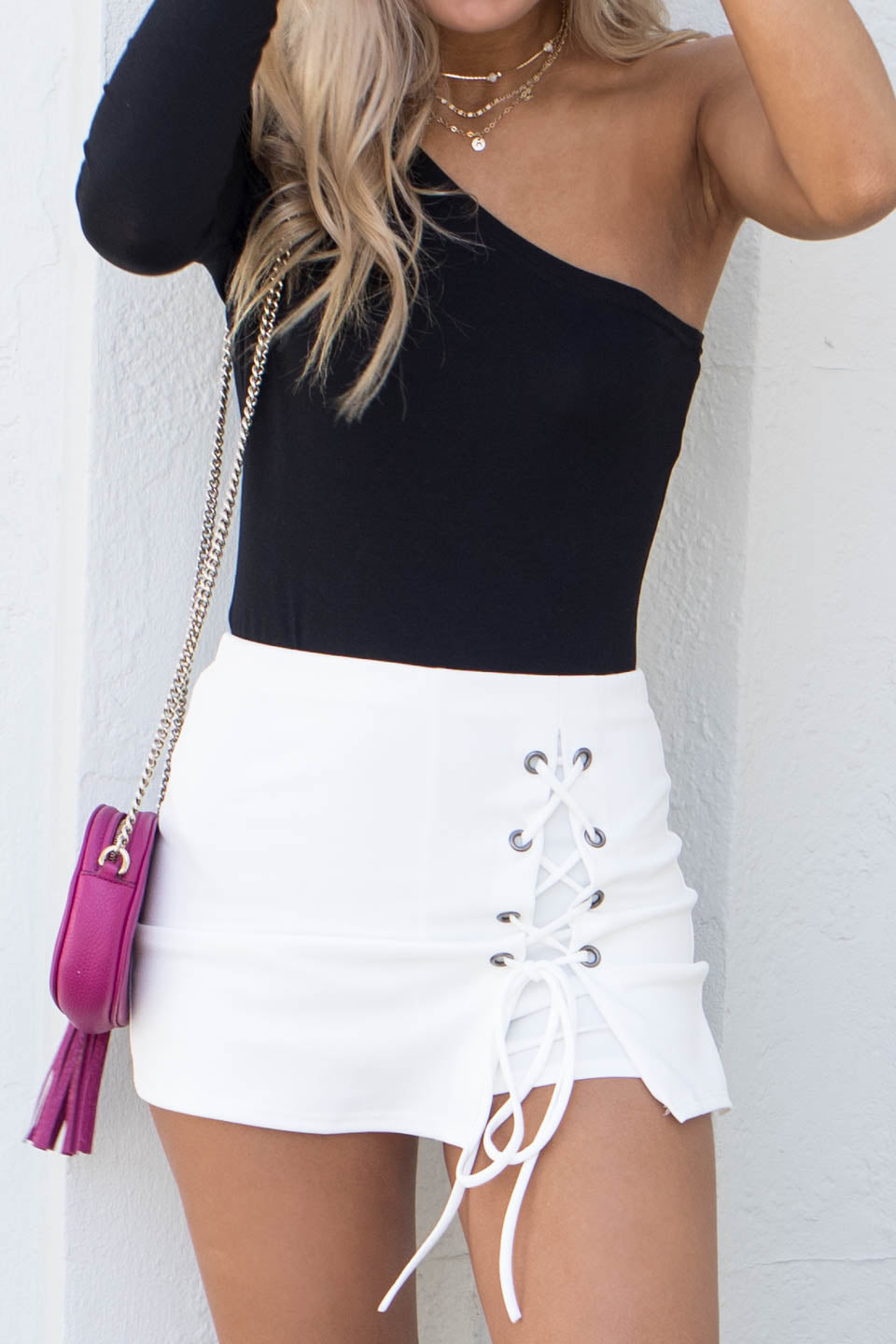 All Intertwined Ivory Lace Up Skort