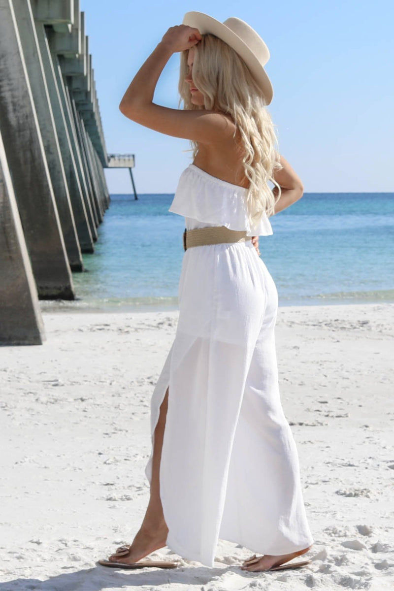 Paradise Point White Strapless Jumpsuit