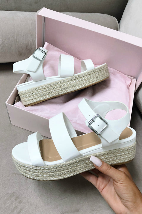 Same Game White Platform Espadrilles