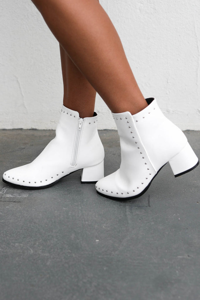 Just Confess White Studded Short Bootie
