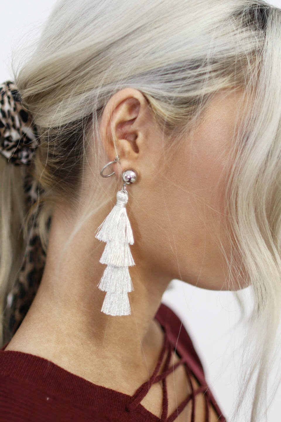 Our Day Metallic Ivory Tassel Earrings