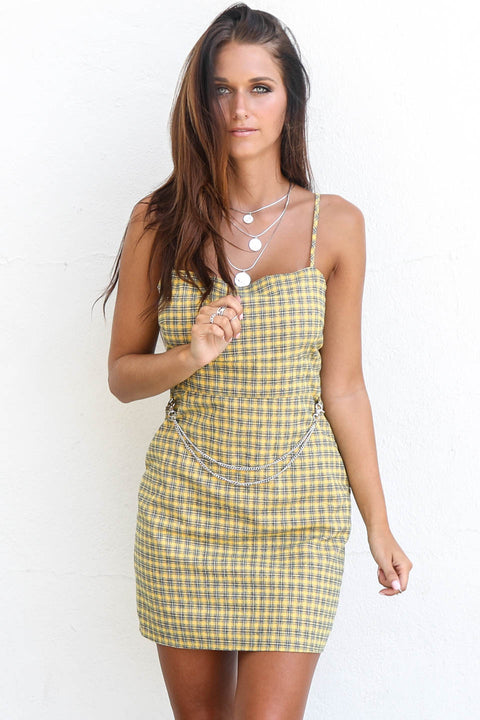 Miss Perfect Plaid Yellow Chain Woven Dress
