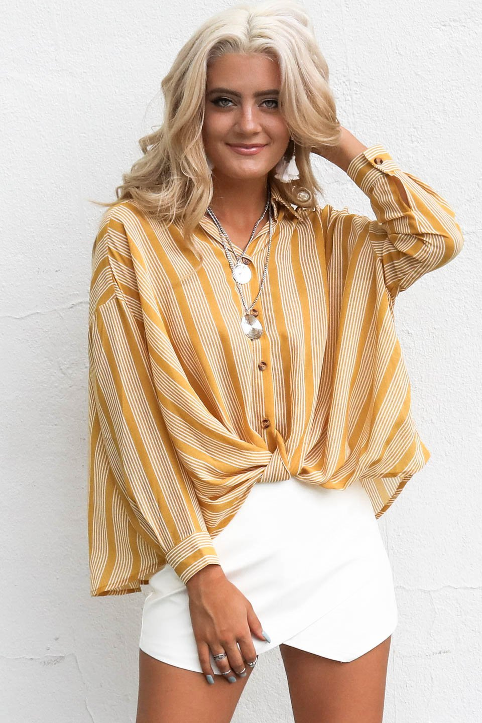 Next Weekend Mustard Front Knot Striped Top