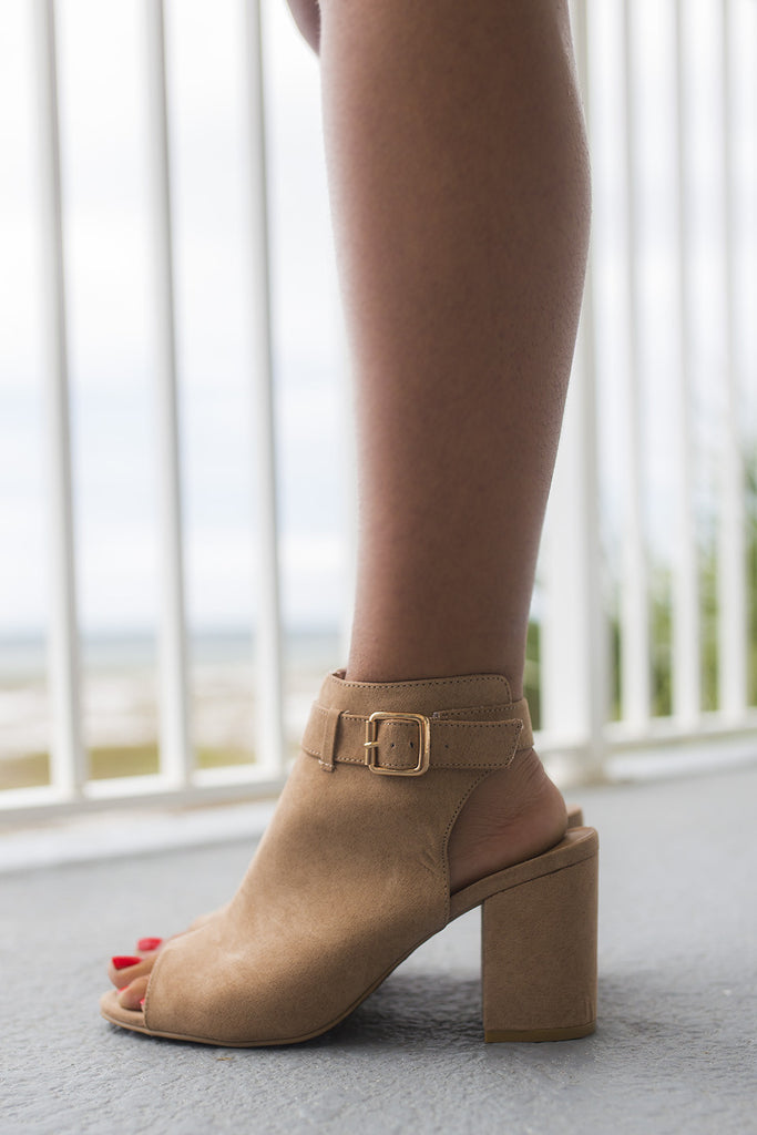 The High Road Camel Open Toe Bootie - Amazing Lace