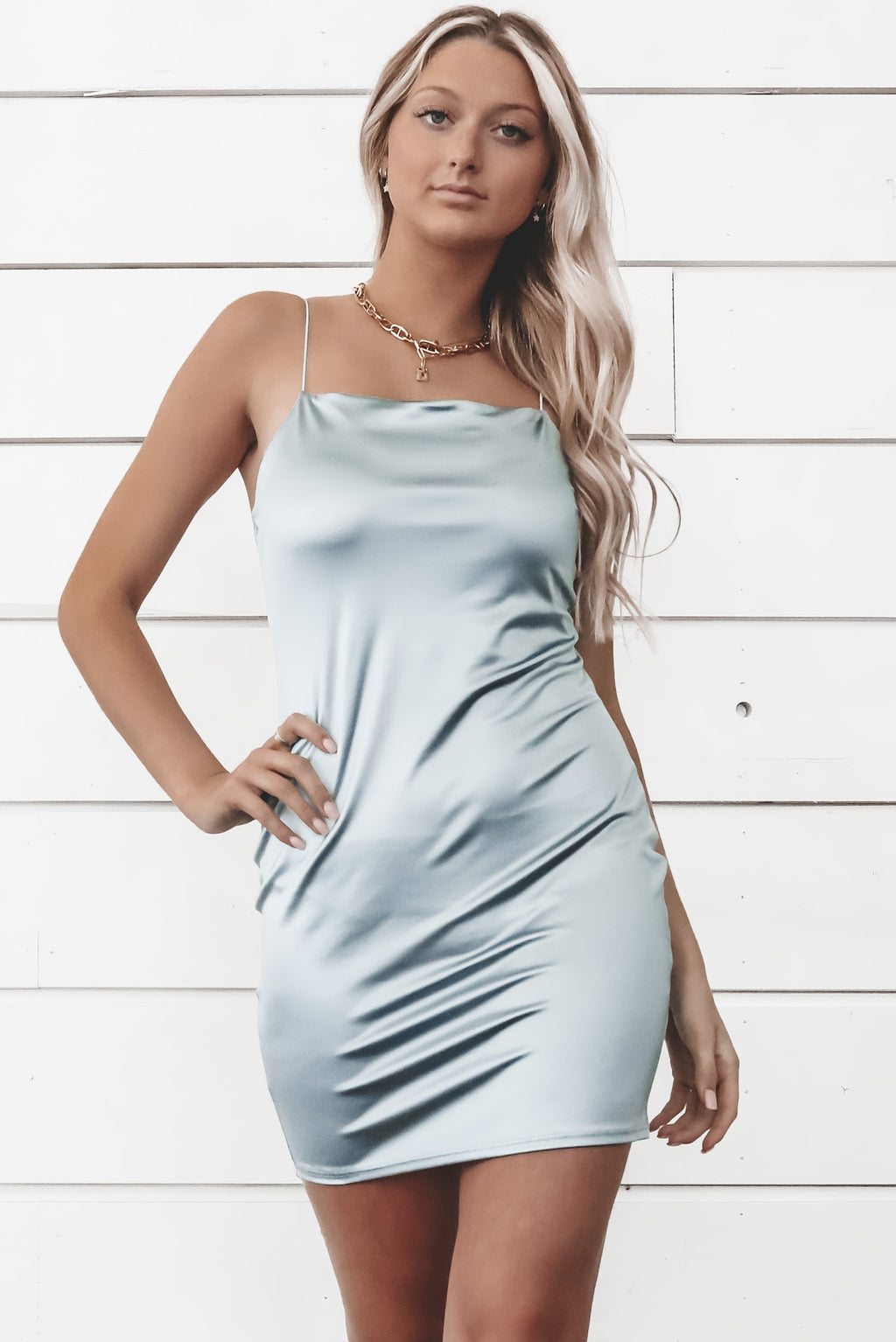 Watch Me Shine Seafoam Metallic Mini Dress