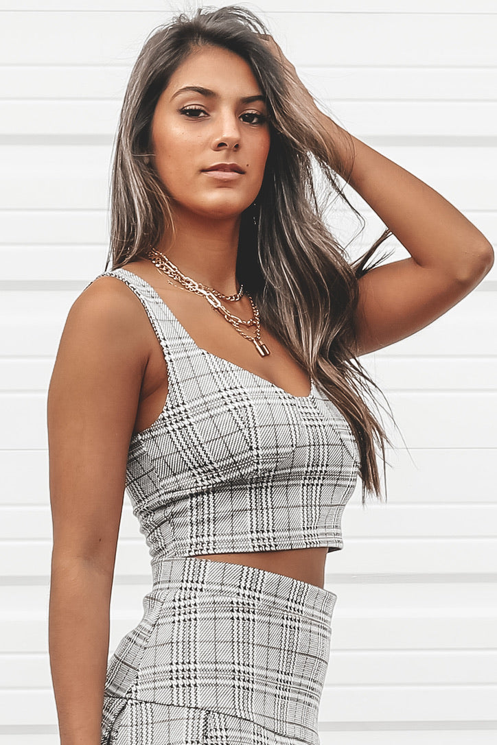 Good Time Gray Combo Plaid Top