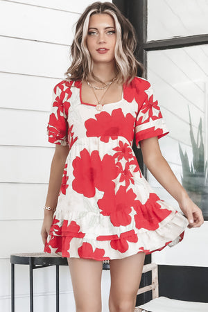 BAND OF GYPSIES Euclid Red Poppy Short Sleeve Mini Dress