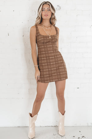 MOTEL Mehra Brown Checkered Dress